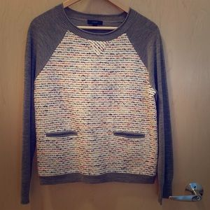 J Crew Multicolor Tweed Front Merino Sweater